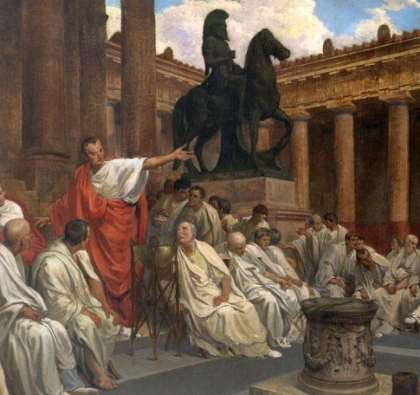 A Roman orator speaks in the senate