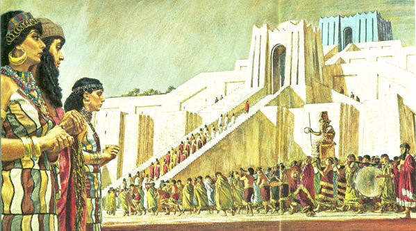 A temple ceremony of the Sumerian Renaissance