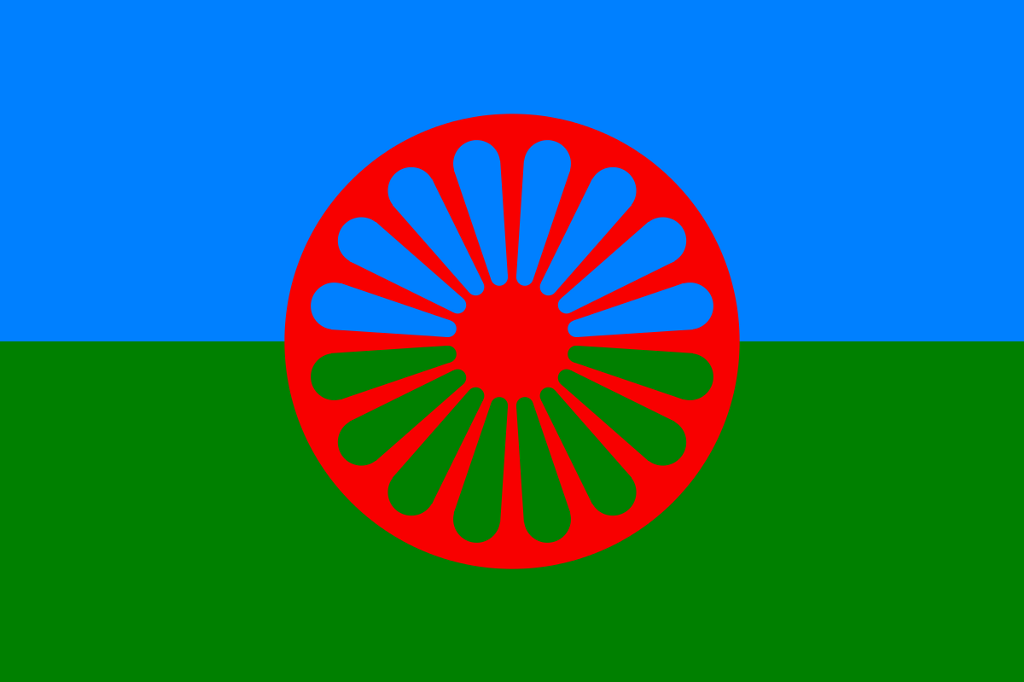 Romani flag created in 1933 and accepted by the 1971 World Romani Congress.