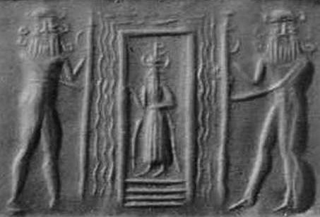 Sumerian cylinder seal showing the gate of the Underworld