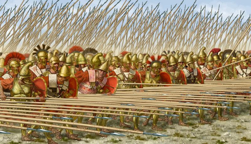 A formidable Macedonian phalanx, with sarissas at the ready