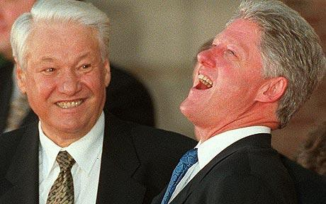 Boris Yeltsin and Bill Clinton sharing a little joke