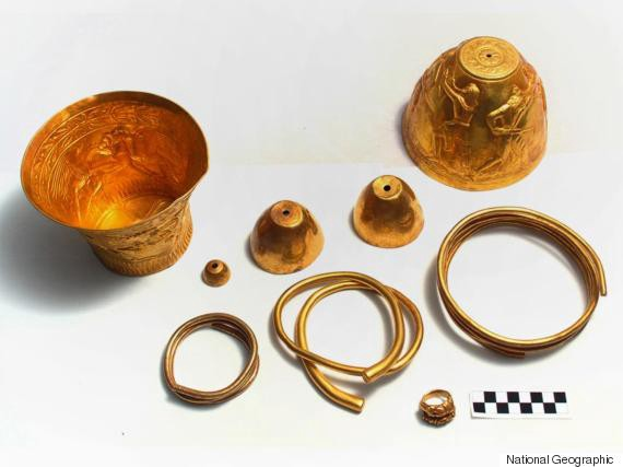 The remains of a solid gold bong used by Scythian chieftains