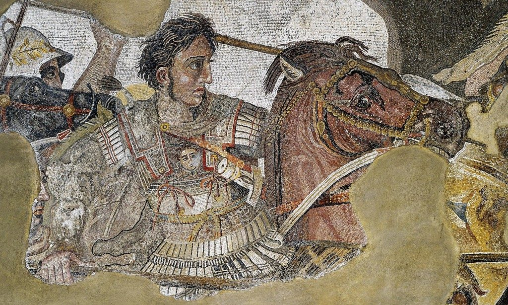 Alexander the Great, in a famous mosaic at the ruins of Pompeii