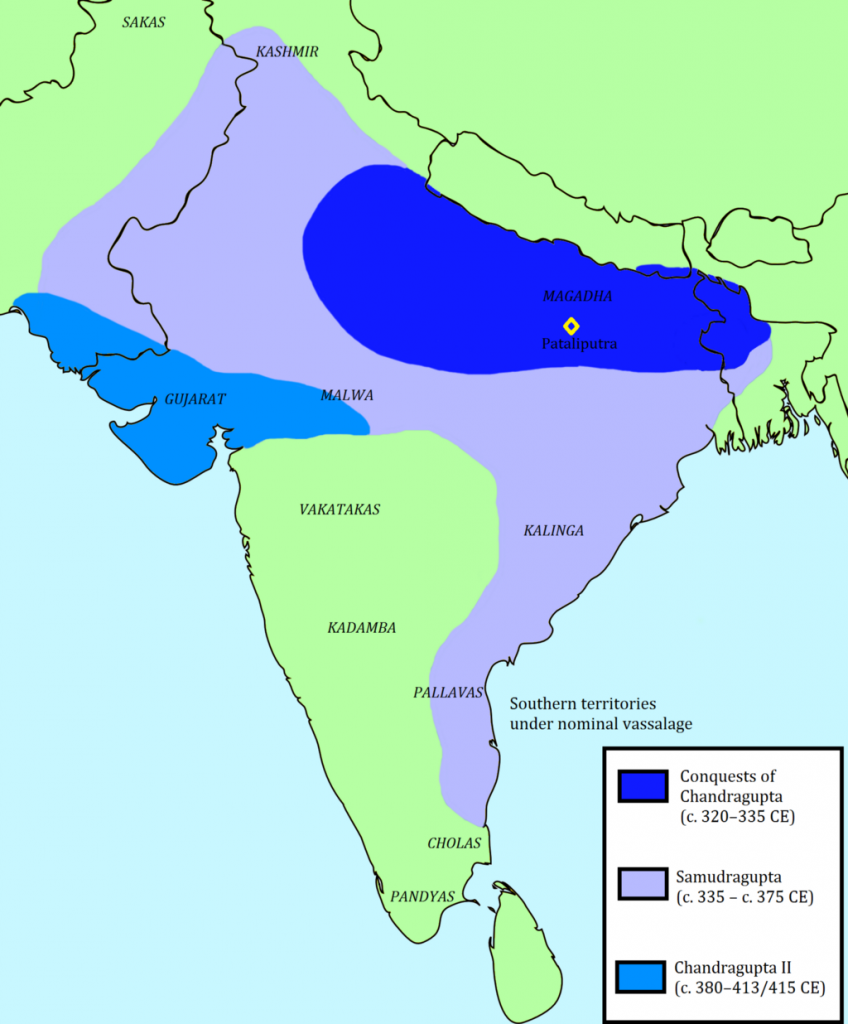 The Gupta Empire at its peak, circa 413 CE