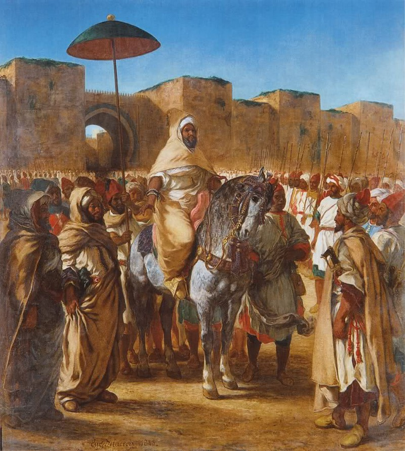 """""""The Sultan of Morocco and his Entourage"""" by Eugène Delacroix, 1845"""